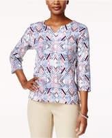 Alfred Dunner Embellished Split-Neck T-Shirt