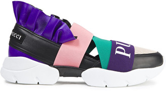 Emilio Pucci City Up Ruffled Leather And Mesh Sneakers