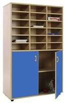 Mobeduc Wardrobe and Shelving Storage with 18 Horizontal Compartments, Wood, Dark Blue, 90 x 147 x 40 cm
