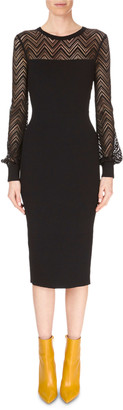 Roland Mouret Long-Sleeve Chevron-Lace Fitted Midi Dress