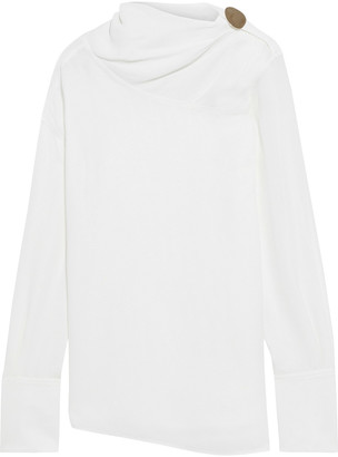 Victoria Beckham Button-embellished Draped Herringbone Crepe Blouse