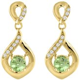 Sabrina Silver 14K Yellow Gold Natural Peridot Earrings with Diamond Accents Round 4 mm