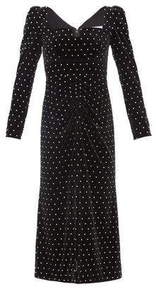Self-Portrait Crystal-embellished Velvet Midi Dress - Black