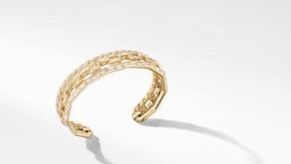 David Yurman Stax Cuff Bracelet In Yellow Gold With Diamonds