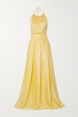 HARMUR Silk-blend Satin Halterneck Maxi Dress - Pastel yellow