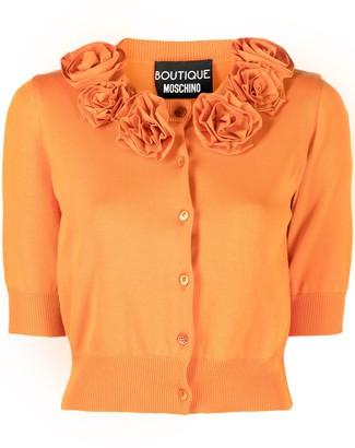 Boutique Moschino Floral Applique Cotton Cardigan