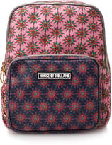 House of Holland Pink and Navy Polka Flower Print Leather Backpack