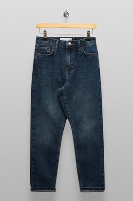 Topshop Womens Petite Light Blue Mom Tapered Jeans - Blue
