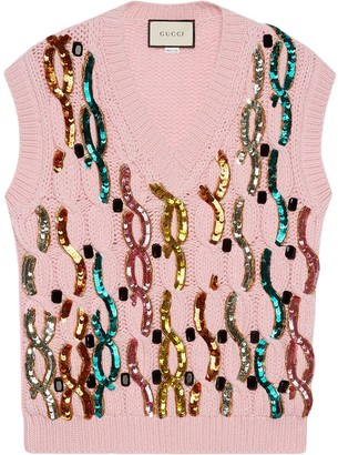 Gucci Sequin Embroidered Wool Vest