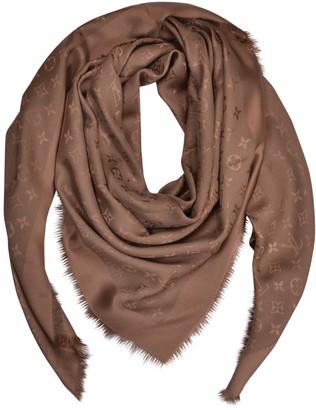 Louis Vuitton Chale Monogram Camel Silk Scarves