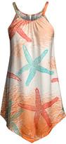 Lily Women's Tunics ORG - Orange & Turquoise Starfish Point-Hem Sleeveless Tunic - Women & Plus