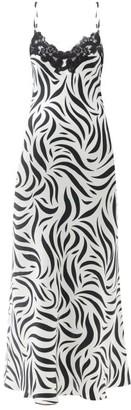 Issimo X Loretta Caponi - Lace-trimmed Zebra-print Silk-charmeuse Slip Dress - Animal