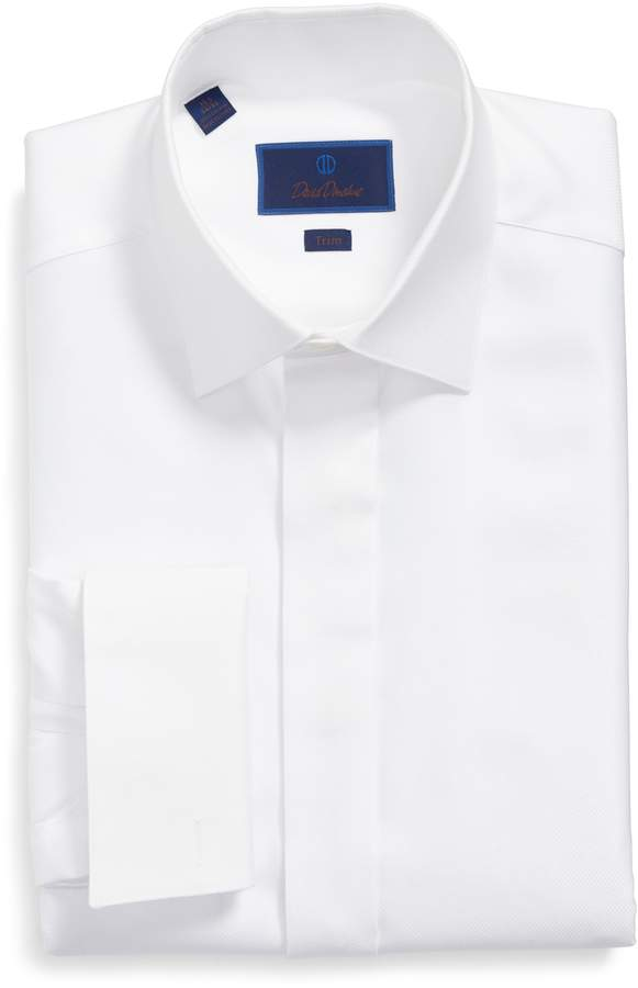 David Donahue Trim Fit French Cuff Tuxedo Shirt