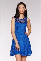 Quiz Royal Blue Sweetheart Lace Skater Dress
