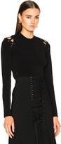 Proenza Schouler Viscose Wool High Waisted Lace Up Skirt