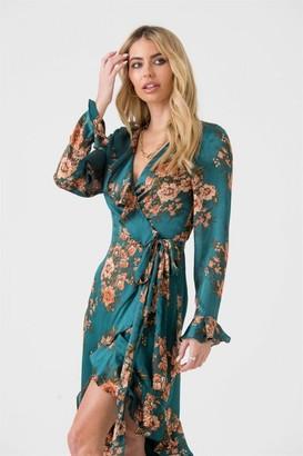 Ikrush LIENA Green Orange Floral Midi Wrap Dress