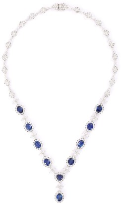 Lc Collection Jewellery Diamond sapphire 18k white gold pendant necklace
