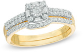 Zales 1/3 CT. T.W. Diamond Frame Bridal Set in 10K Gold