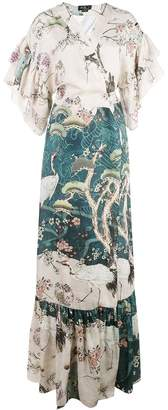 PatBO chinoiserie wrap kimono dress