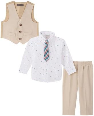 Van Heusen Baby Boy 4-Piece Heather Poplin Vest Set