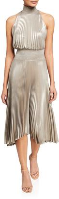 A.L.C. Renzo Halter-Neck Plisse Dress