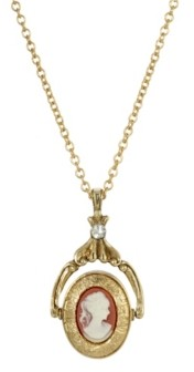 2028 Women's Gold Tone Carnelian Cameo Double Locket Spinner Necklace