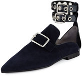 Robert Clergerie Lolli Suede Ankle-Strap Loafer, Black