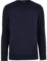 River Island Mens Navy blue cable knit crew neck jumper