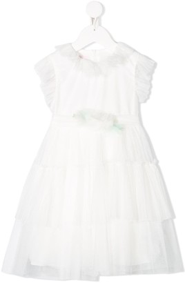 Miss Blumarine Tulle Ruffled-Trimmed Dress