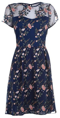 Adrianna Papell Floral Embroidered Flared Dress