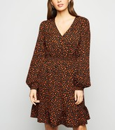 New Look Animal Print Frill Long Sleeve Dress