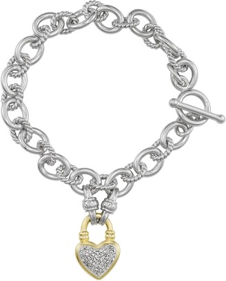 Unbranded Sterling Silver 1/4 Carat T.W. Diamond Heart Toggle Bracelet