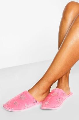 boohoo Sequin Star Slippers