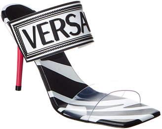 Versace 90'S Vintage Logo Vinyl & Leather Sandal
