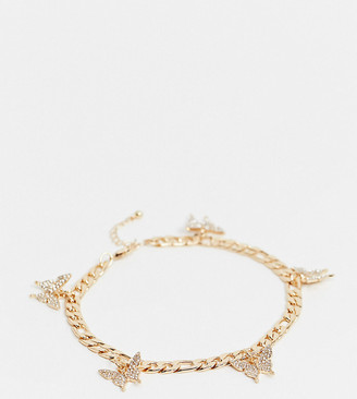 ASOS DESIGN Curve anklet with butterfly charms in gold tone