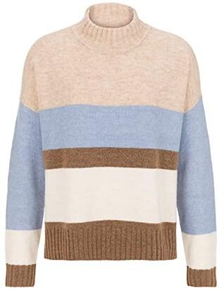 Tribal Long Sleeve Striped Mock Neck Sweater (China Blue) Women's Sweater