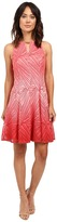 London Times Ombre Palm Lace Fit & Flare Dress