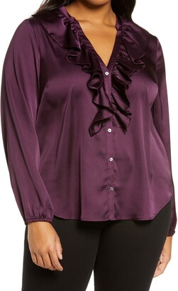 1 STATE Ruffle Neck Button-Front Blouse