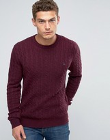 Jack Wills Merino Jumper In Cable Damson