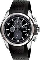 Citizen Men's Eco-Drive Chronograph Black Polyurethane Stap Watch, 45mm