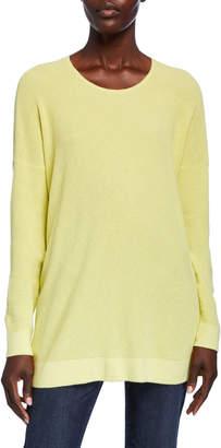 Eileen Fisher Scoop-Neck Long-Sleeve Waffle-Knit Sweater