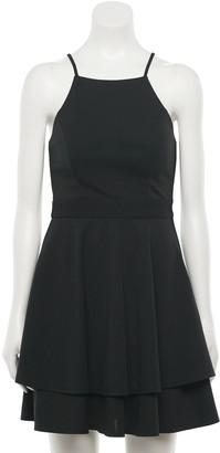 Trixxi Juniors' Lace-Back Skater Dress