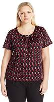 Notations Women's Plus Size Short Sleeve Scoop Printed Knit Pullover with Trim At Neck