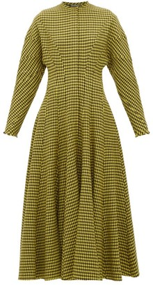 Vika Gazinskaya Panelled Houndstooth-wool Dress - Brown Multi