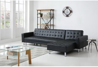 Ivy Bronx Laux Convertible Reversible Sleeper Sectional Upholstery Color: Black