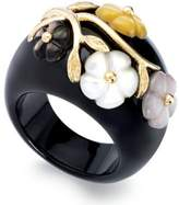 Macy's Jade or Onyx and Multicolored Mother of Pearl (8mm) Flower Ring in 14k Gold over Sterling Silver