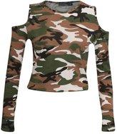 GirlzWalk ® Women Cut Out Shoulder Crop Top Ladies Printed Long Sleeve T Shirt Top