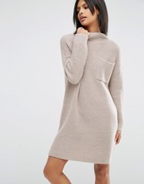 Asos Swing Dress In Rib Knit With Top Pocket