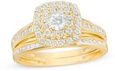 Zales 3/4 CT. T.W. Diamond Double Cushion Frame Bridal Set in 10K Gold