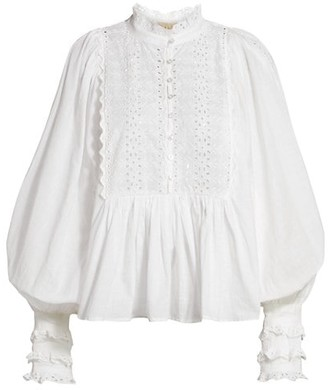 By Ti Mo Cotton Slub Lace Blouse